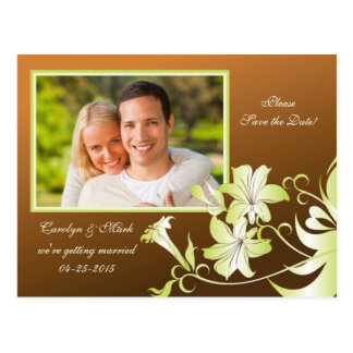 Trumpet Flower Photo Save the Date Postcard