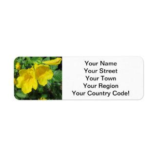 Trumpet Garden Flower Yellow Return Address Label