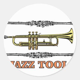 trumpet jazz tool round sticker