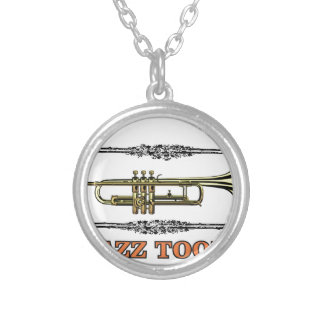 trumpet jazz tool silver plated necklace