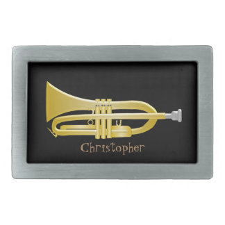 Trumpet Just Add Name Black Rectangular Belt Buckles