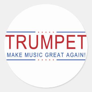 TRUMPET - Make Music Great Again! Classic Round Sticker