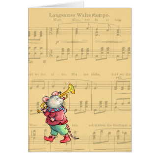 Trumpet Mouse on Sheet Music - Greeting Card