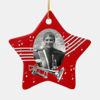 Trumpet Music Red Star Ceramic Ornament