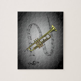 Trumpet Musical Scale ~ Black ~ Gray Background Jigsaw Puzzle