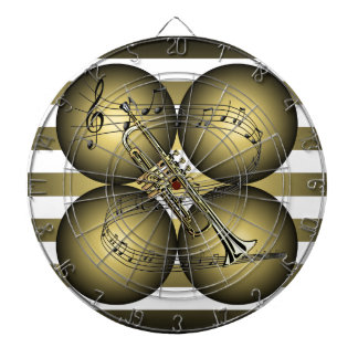 Trumpet ~ Musical Scale ~ Musical Globes ~ Stripes Dartboard With Darts