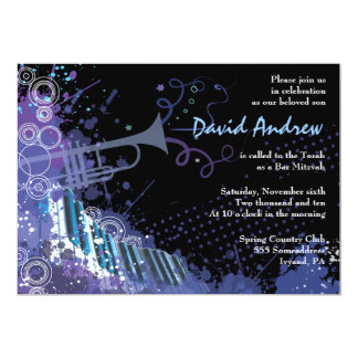 Trumpet & Piano Musical Bar Bat Mitzvah Invitation