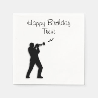 Trumpet Player Custom Birthday Disposable Napkins