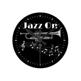 Trumpet Player Jazz On Round Clock