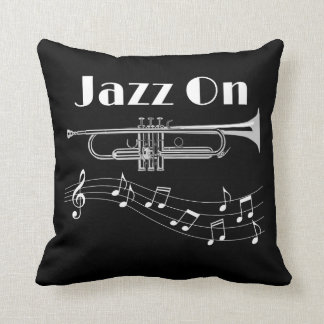 Trumpet Player Jazz On Throw Pillow