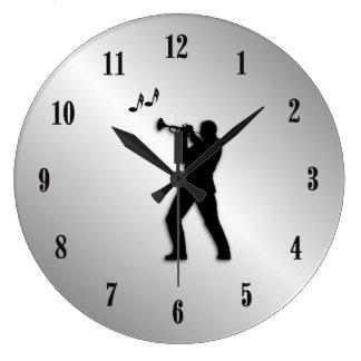 Trumpet Player Silver Music Clock
