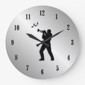 Trumpet Player Silver Music Large Clock