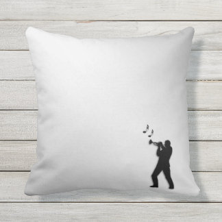 Trumpet Player Silver Outdoor Pillow