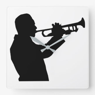 Trumpet Player Square Wall Clock