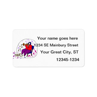 trumpet player wearing red and purple graphic personalized address labels
