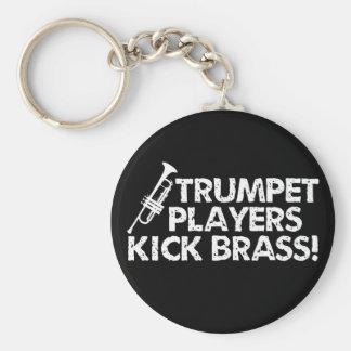 Trumpet Players Kick Brass! Basic Round Button Keychain