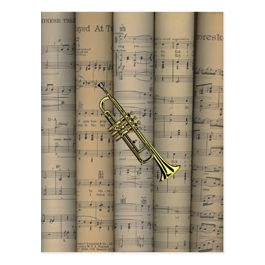 Trumpet ~ Rolled Sheet Music Background ~ Musical Postcard