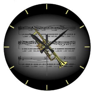 Trumpet ~Sheet Music ~ Black Gray Background Large Clock