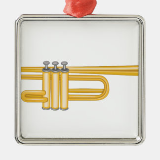 Trumpet Silver-Colored Square Ornament