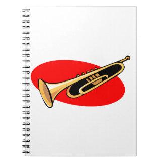Trumpet Simple Design Red Background Spiral Notebooks