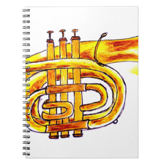 Trumpet Simple Sketch Spiral Note Book