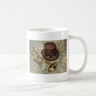Trumpet, top hat and musical notes coffee mug