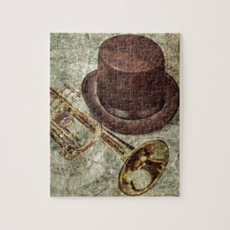 Trumpet, top hat and musical notes jigsaw puzzle