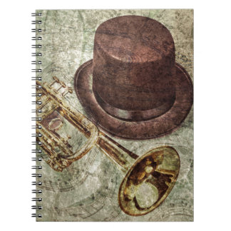 Trumpet, top hat and musical notes notebooks
