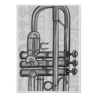 Trumpet Valves in Charcoal Music Art Print