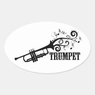 Trumpet Vector with swirls Oval Sticker