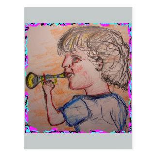 trumpet virtuoso make some noise postcard