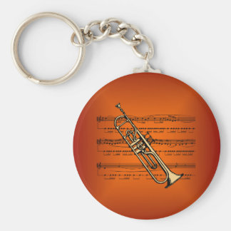 Trumpet w/Sheet Music ~ Flame Color Background Keychain