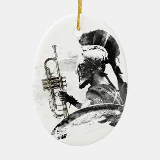 Trumpet Warrior Ceramic Oval Ornament