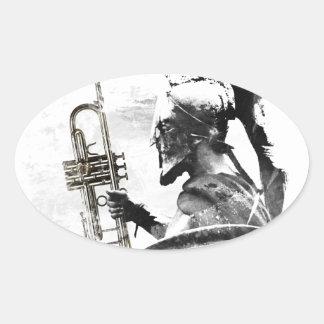 Trumpet Warrior Oval Sticker