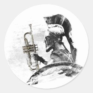 Trumpet Warrior Round Sticker