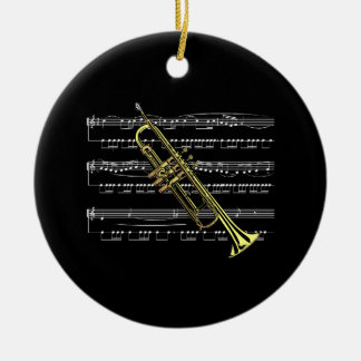 Trumpet with Sheet Music and Black Background Ceramic Ornament