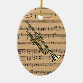 Trumpet With Sheet Music Background Ceramic Ornament