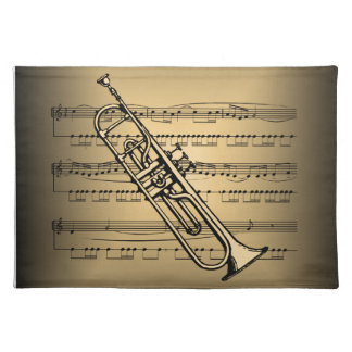 Trumpet With Sheet Music Background Place Mat