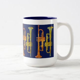 Trumpet Wrap on Navy Two-Tone Coffee Mug