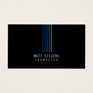 Trumpeter Musician Business Card Blue Beams
