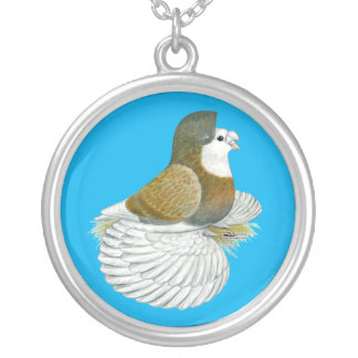 Trumpeter Pigeon AOC Baldhead Silver Plated Necklace