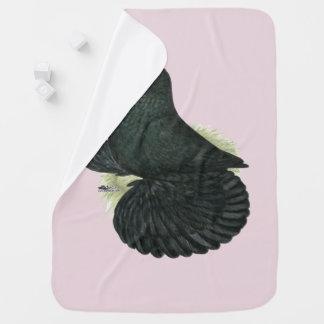 Trumpeter Pigeon Black Baby Blanket
