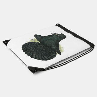 Trumpeter Pigeon Black Drawstring Bag