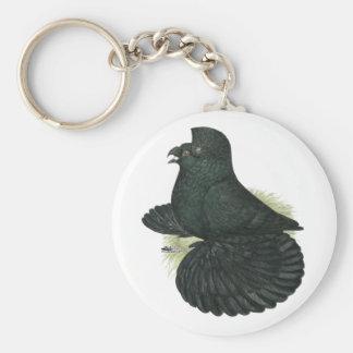 Trumpeter Pigeon Black Keychain