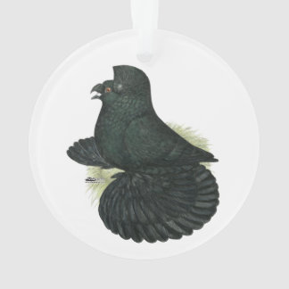 Trumpeter Pigeon Black Ornament