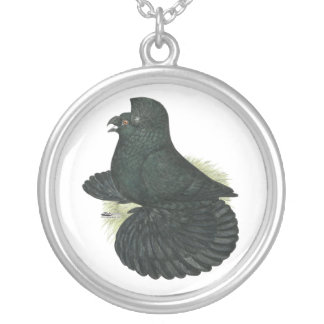 Trumpeter Pigeon Black Silver Plated Necklace
