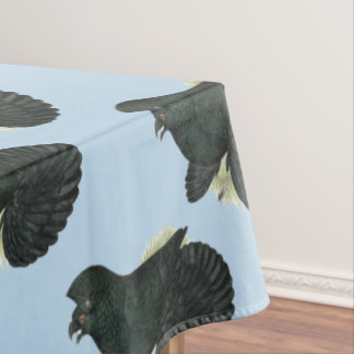 Trumpeter Pigeon Black Tablecloth