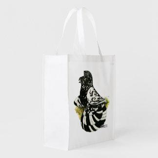 Trumpeter Pigeon Dark Splash Reusable Grocery Bag