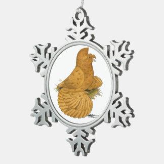Trumpeter Pigeon Deroy Snowflake Pewter Christmas Ornament