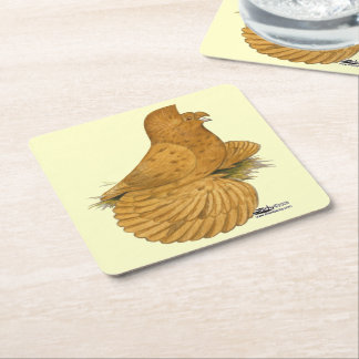 Trumpeter Pigeon Deroy Square Paper Coaster